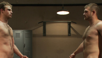 Muscle Hunks Paul Wagner and James Gates Wrestle In The Gym- Naked Combat