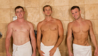 Blake, Sean, & Curtis Bareback 3 Way At Sean Cody