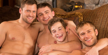 Brendan, Atticus, Robbie, and Blake Fuck Bareback At Sean Cody