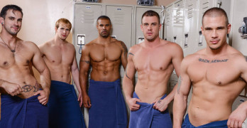 Football Orgy! Adam Bryant, Cameron Foster, Darin Silvers and Robert Axel