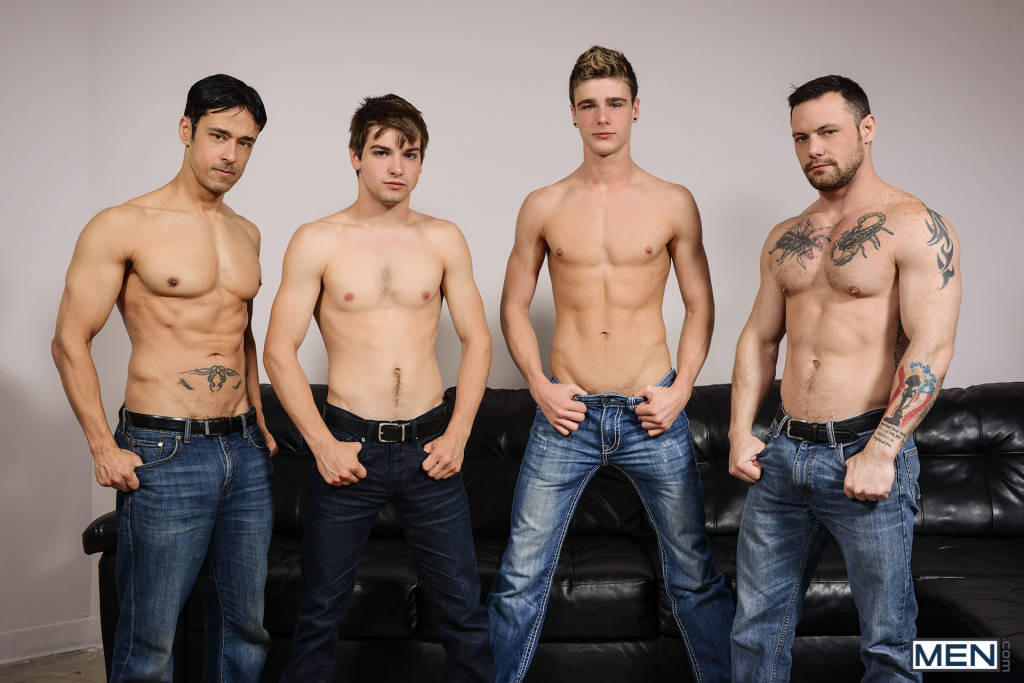 Johnny Rapid's Orgy With Travis Stevens, Rafael Alencar, and Sergeant Miles