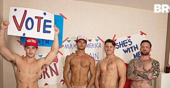Tobias, Evan Marco, Jordan Levine, and Trevor Long's Bareback Orgy