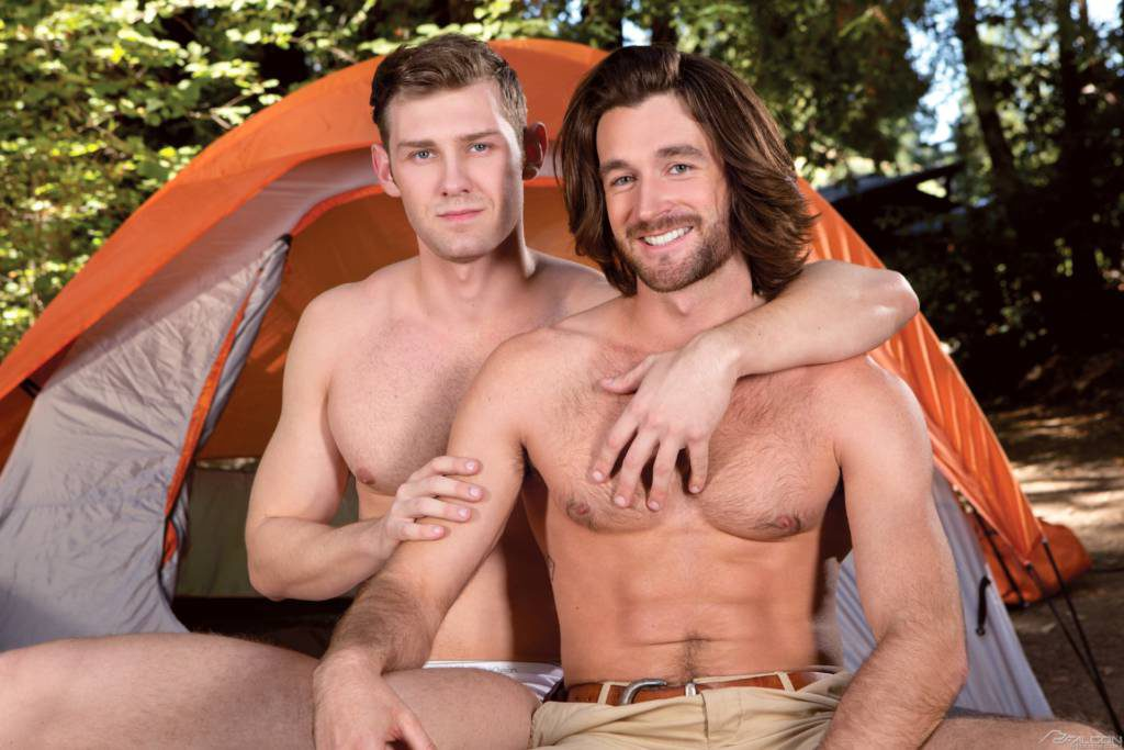 Young Studs Woody Fox and Jacob Peterson In Pitching Tents