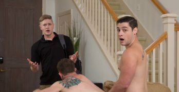 """Chris Blades and Clark Campbell Fuck Bareback """"Roomie Benefits"""""""