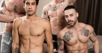 """Bareback Bukkake Bitch"" Starring Carlos Lindo, Titus, Dane Stewart, and Blaze Burton"