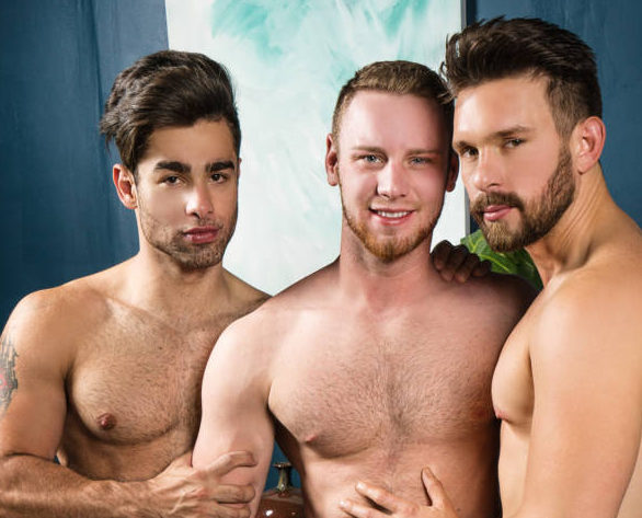Casey Jacks, Lucas Leon, and Brandon Evans' Bareback Ass Swap