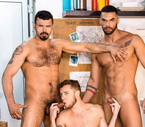 Justin Matthews Gets Fucked By Jean Franko and Lucas Fox