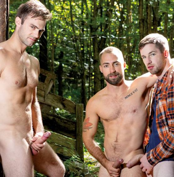 Thyle Knoxx, Gabriel Clark, and Jeremy London's Bareback Fuck In The Woods