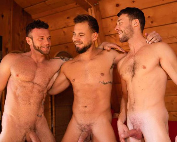 Sean, Josh, and Justin's Bareback Threesome At Sean Cody