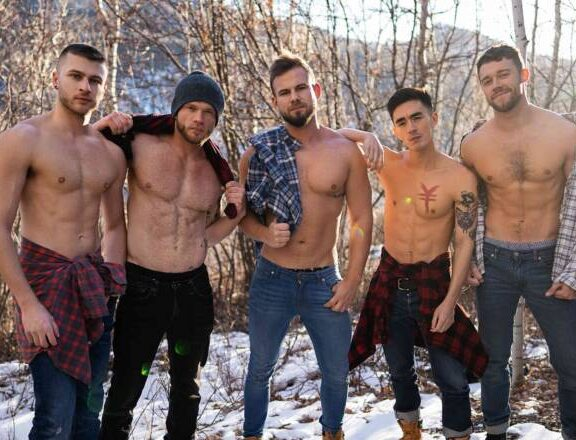 Sean, Josh, Justin, Cody,and Devy's Bareback Orgy At Sean Cody
