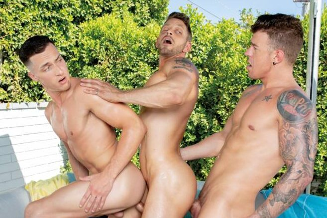JJ Knight, Tristan Hunter, and Johnny Ford's Bareback Threesome