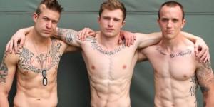 Markie More, Michael , and James - Bareback Military 3 Way!