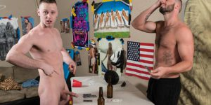 "Brandon Evans and Blaze Burton Fuck Raw In ""Bareback Wars"""