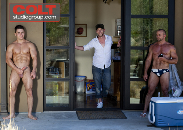 Marc Dylan, Kristofer Weston and David Casey in the Castro Nude